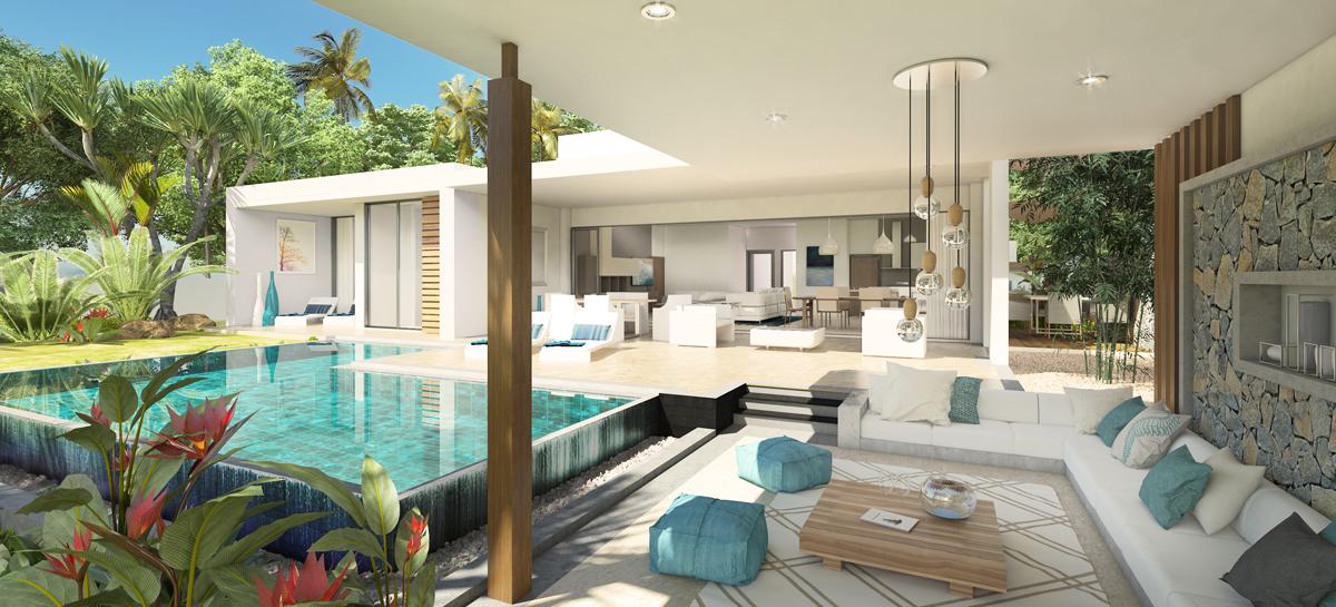 Golf View Villa 4 Chambres-317m2 aménagement classique architecture mauricienne