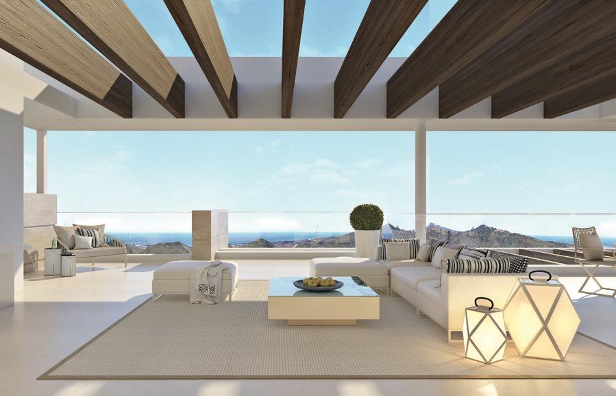 Appartements vue panoramique sur les collines andalouses et mer Méditerranée