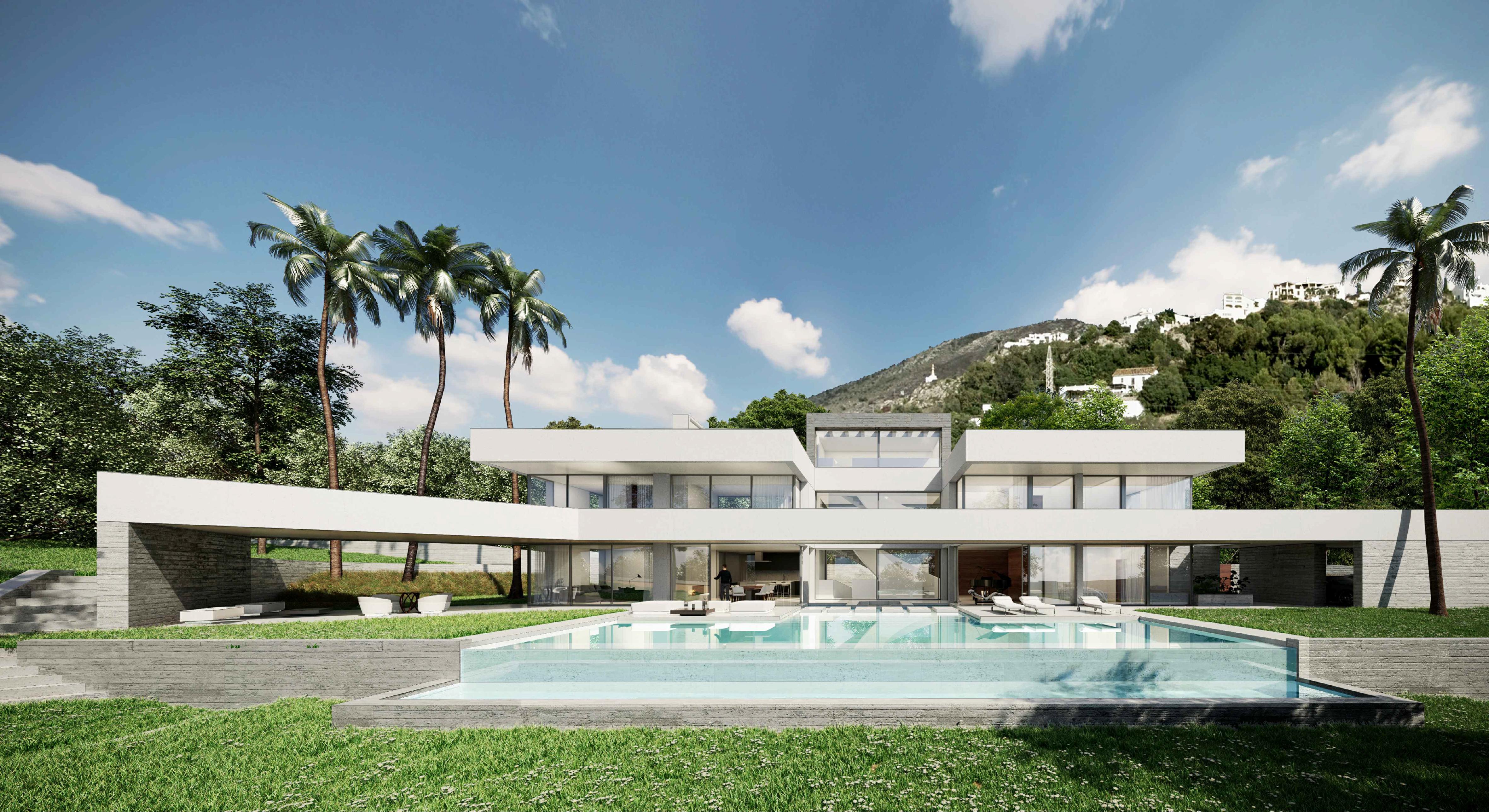 Cette villa est conçue dans un style architectural contemporain