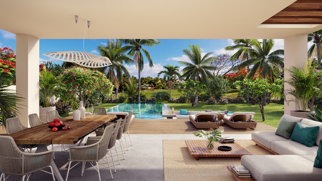 Villas sur plan vue dégagée sur la piscine et le jardin arboré