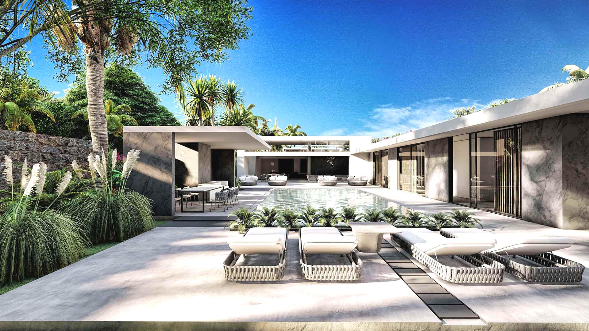 Villas d'architecte de 3 chambres avec piscine et jardin privé