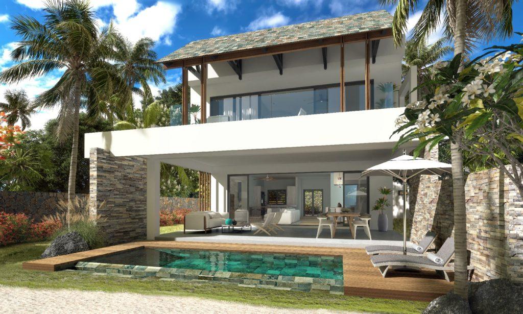 Les 4 villas au sein de la résidence s'ouvrent sur une piscine privative face à la mer